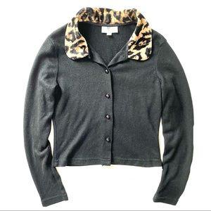 Y2K Heart Soul Cheetah Faux Fur Cardigan